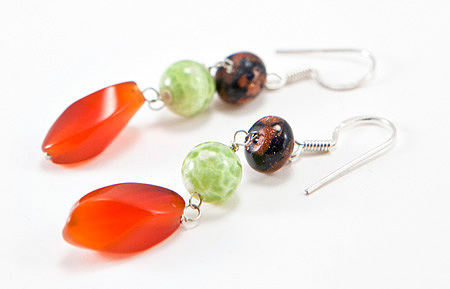Design 17308: orange carnelian earrings