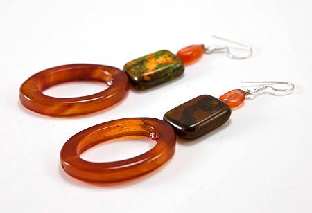 Design 17321: orange carnelian earrings