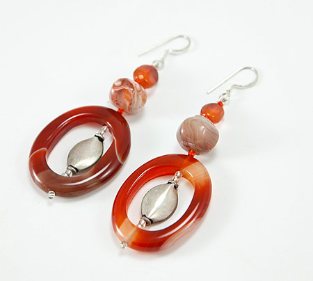 Design 17324: orange carnelian earrings