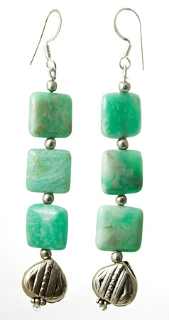 Design 17666: green amazonite earrings
