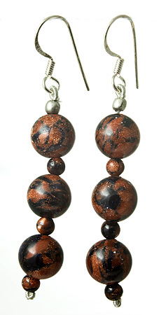 Design 17668: brown goldstone earrings