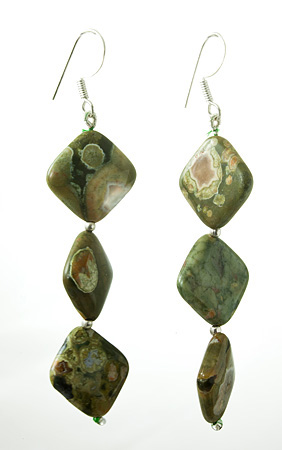 Design 17715: green jasper earrings