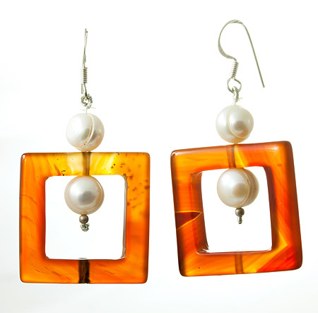 Design 17718: orange carnelian earrings