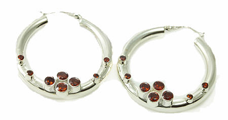 Design 18128: red garnet earrings