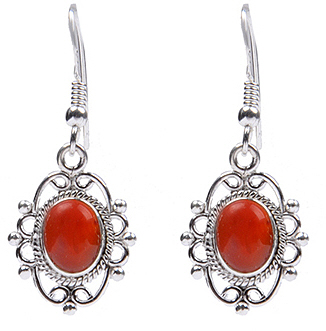 Design 18311: orange carnelian earrings