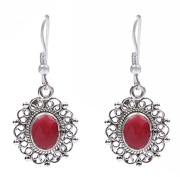 Design 18461: red garnet earrings