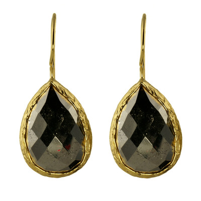 Design 18611: black pyrite earrings