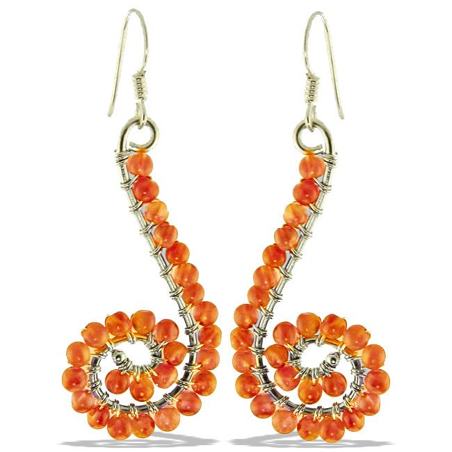 Design 20979: orange carnelian earrings