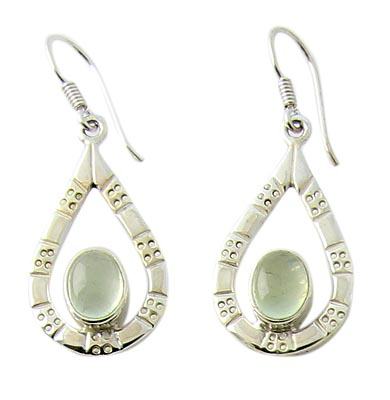Design 21061: green prehnite earrings