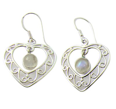 Design 21110: white moonstone earrings