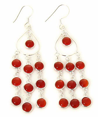 Design 21125: orange carnelian earrings