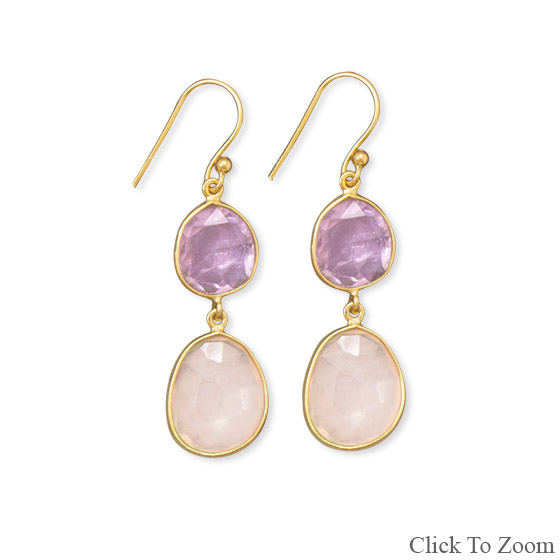 Design 21723: multi-color multi-stone drop earrings
