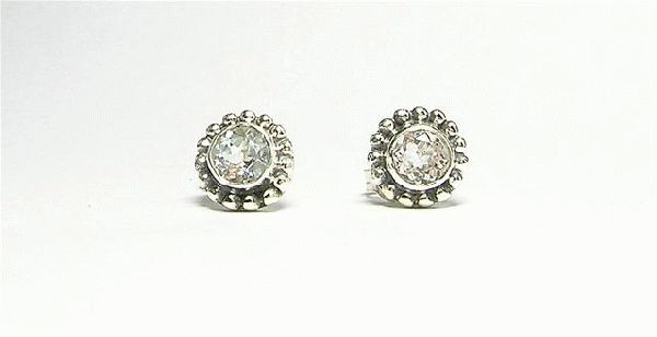 Design 3094: white white topaz post, stud, studs earrings