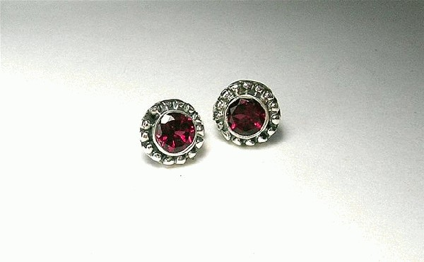 Design 5388: pink,red rhodolite post, stud, studs earrings
