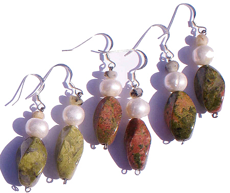 Design 5992: green,orange unakite earrings