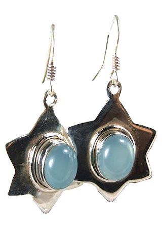 Design 6017: blue chalcedony star earrings
