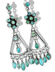 Design 6018: black,green turquoise chandelier, post earrings