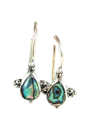 Design 6040: blue,green abalone drop earrings