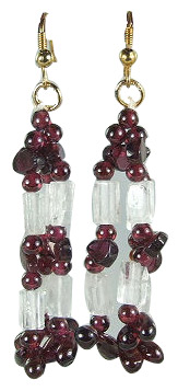 Design 6046: red,white garnet multistrand earrings