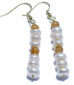 Design 6324: white,yellow pearl earrings