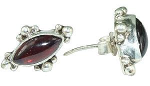 Design 6334: red garnet gothic-medieval, post, stud earrings