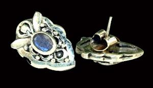 Design 6335: silver, blue, white moonstone post, stud earrings