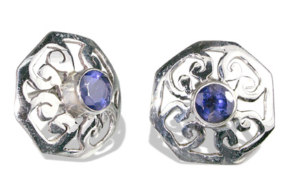 Design 6336: blue iolite gothic-medieval earrings