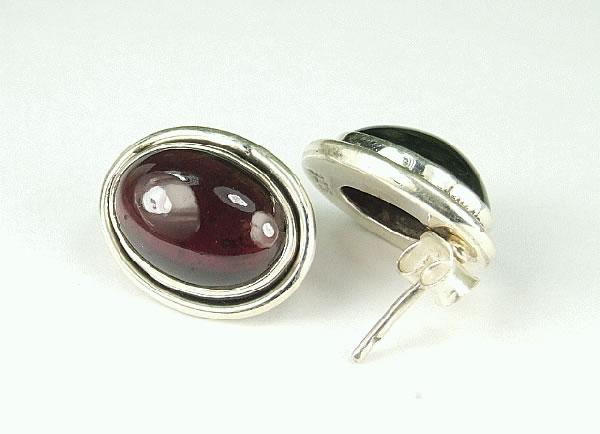 Design 6337: red garnet post, stud earrings