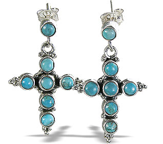 Design 6338: blue turquoise christian earrings