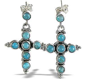 Design 6338: blue turquoise christian earrings