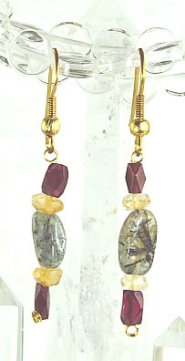 Design 6368: red,yellow,multi-color rotile drop earrings