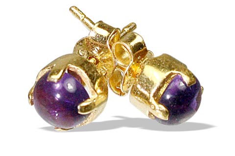Design 6407: purple amethyst post, stud earrings
