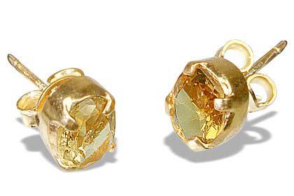 Design 6411: yellow citrine post earrings