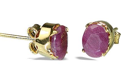 Design 6412: red ruby post earrings