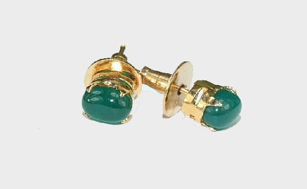 Design 6413: green onyx post, stud earrings