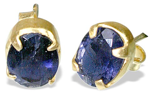 Design 6414: blue iolite post earrings