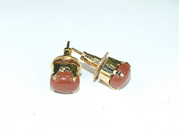 Design 6416: brown goldstone post earrings