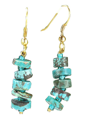 Design 6418: blue turquoise chipped earrings