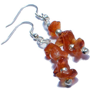 Design 6419: orange carnelian chipped earrings
