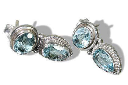 Design 6424: blue blue topaz post earrings