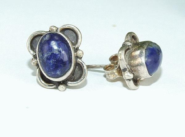 Design 6425: blue lapis lazuli post, stud earrings