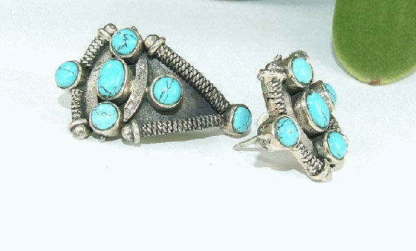 Design 6428: blue turquoise american-southwest, ethnic, tribal earrings
