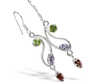 Design 6431: green,purple,red multi-stone drop earrings