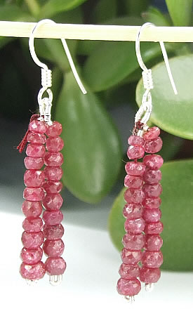 Design 6454: red ruby multistrand earrings