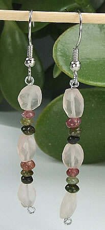 Design 6460: pink rose quartz earrings