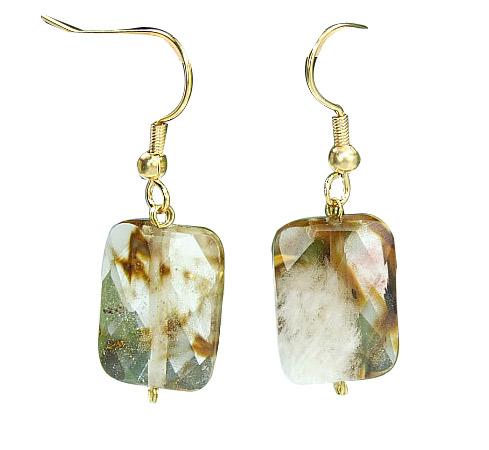 Design 6463: brown,white galaxy quartz earrings