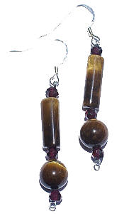 Design 6465: brown,red tiger eye earrings