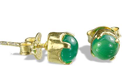 Design 652: green onyx post earrings