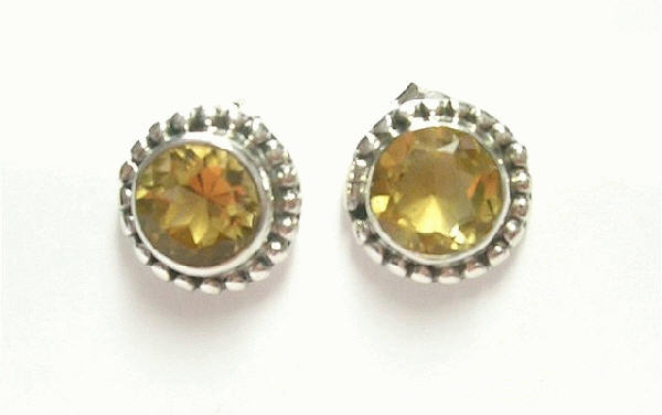Design 6892: yellow citrine post, stud earrings