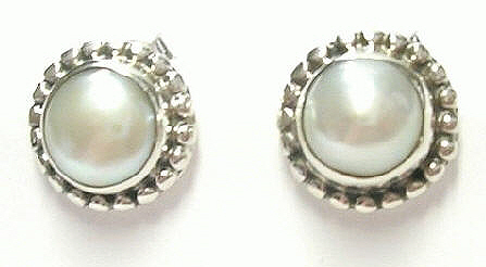Design 6893: white pearl post, stud earrings